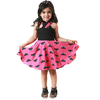 Kidopedia Girls Mini/Short Casual Dress (Pink, Sleeveless)