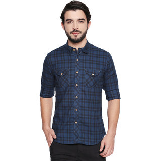 Jeaneration Men's Blue and Black Cotton Checkered Shirt