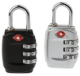 3 Digit Security luggage Padlock Best For International Travelling Multi Color Pack Of 2 -TSA331