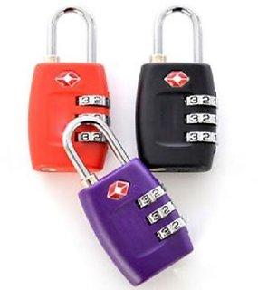 3 Digit Security luggage Padlock Best For International Travelling Multi Color -TSA331