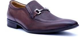 Hitz Men's Brown Leather Slip On Formal Shoes
