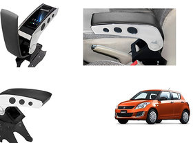 Generic Dual Tone Car Armrest Console Black & Chrome For Maruti Swift