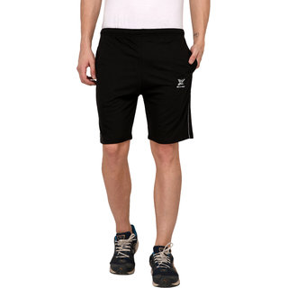 Odoky Black Cotton Casual Shorts