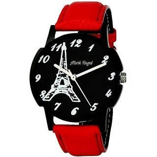 Mark Regal Red Strap Black Dail Round Watch For Mens