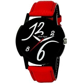 Hwt Round Black Dial with Red Leather Strap Analog Watch For Men