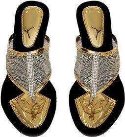 Altek Designer Shiny Gold Color  Wedges For Women