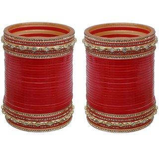 Lucky Jewellery Red Designer Chura Bridal Wedding Punjabi Choora Fashion Jewellery Chuda Set