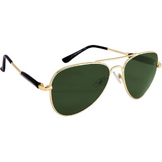 HH Aviator Unisex Uv Protected Green Aviator Sunglasses