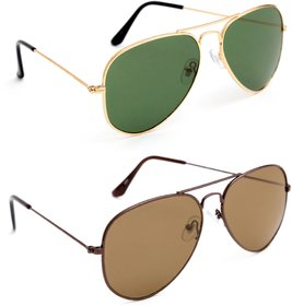 TheWhoop Combo UV Protected New Stylish Aviator Green And Brown Unisex Sunglasses For Men, Women, Girls, Boys