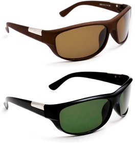 TheWhoop Combo Brown UV Protected Sports Driving Sunglasses. New Green Wrap Around Biking Goggles