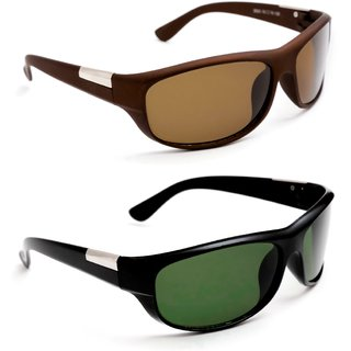 11ba642f7cde Buy TheWhoop Combo Brown UV Protected Sports Driving Sunglasses. New Green Wrap  Around Biking Goggles Online - Get 62% Off