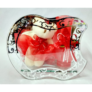 MS SONS GIFT ARTS SMALL TEDDY WITH RED JAR-786-(SET OF 1