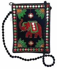 Embroidered Black Elephant Design Velvet Handmade Sling