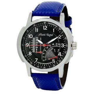 Mark Regal Round Black Dail Blue Leather Strap Analog Watch For Mens