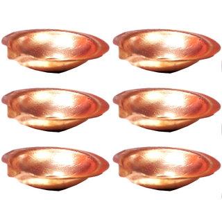 6 cm Pure Copper Diya - Set of 6
