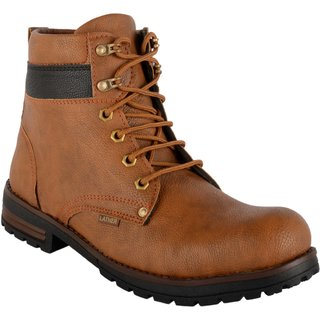Goosebird Stylish Synthetic Lace up Tan Color  Boots For Men's