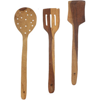 Bhavya Enterprises Wooden Serving and Cooking Spoon Kitchen Tools Utensil Set of 5