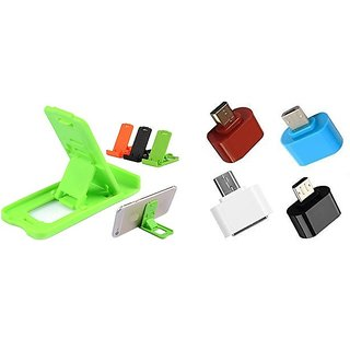 Combo of Small Stand and OTG Adopter (Assorted Colors)