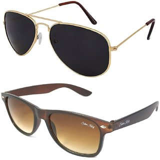 Silver Kartz Combo of 2 Wayfarer Unisex Sunglasses(scm30//Black//Brown)