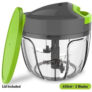Home Puff 3 Blades Vegetable Chopper, Cutter With Storage Lid (650ml)