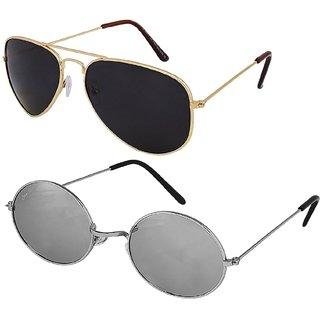 Silver Kartz Combo of 2 Wayfarer Unisex Sunglasses(scm33//Black//Silver)