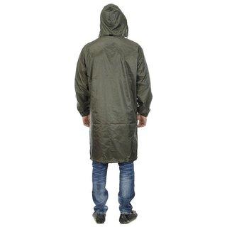 Unique Green Knee Length Long Rain Coat With Cap