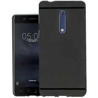 Premium Soft Silicone Matte Back Case Cover For Nokia 5 Black