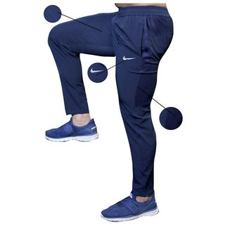 Nike Navy Lycra Track Pants Dry Fit