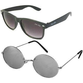 Silver Kartz Combo of 2 Wayfarer Unisex Sunglasses(scm38//Black//Silver)