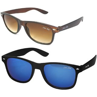 Silver Kartz Combo of 2 Wayfarer Unisex Sunglasses(scm40//Brown//Blue)