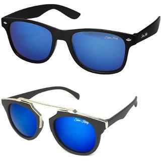 Silver Kartz Combo of 2 Wayfarer Unisex Sunglasses(scm46//Blue//)