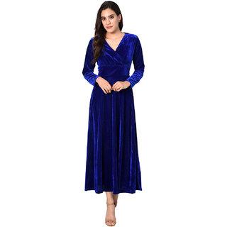 Code Yellow Women S Royal Blue Velvet V Neck Long Winter Dress Wc 1620