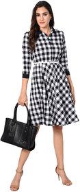 WC-1622 Westchic BLACK  WHITE CHECK Midi Dress