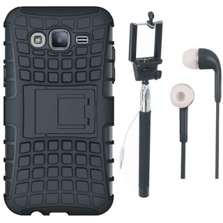 Redmi 4 Defender Back Cover with Kick Stand with Selfie Stick and Earphones