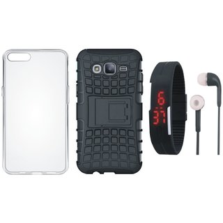 Redmi 4 Defender Back Cover with Kick Stand with Silicon Back Cover, Digital Watch and Earphones