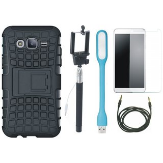 Redmi 4 Defender Back Cover with Kick Stand with Free Selfie Stick, Tempered Glass, LED Light and AUX Cable