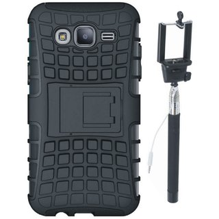 Redmi 4 Shockproof Tough Defender Cover with Free Silicon Back Cover and Selfie Stick