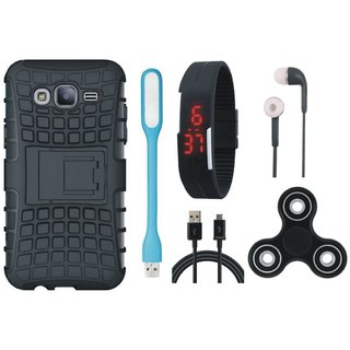 Redmi 4 Defender Back Cover with Kick Stand with Spinner, Digital Watch, Earphones, USB LED Light and USB Cable