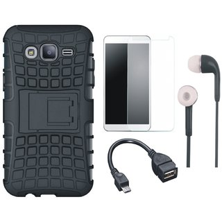 Redmi 4 Shockproof Tough Defender Cover with Tempered Glass, Earphones and OTG Cable
