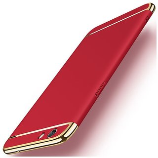 Oppo F3 Dual Selfie Camera Plain Cases ClickAway - Red with free selfie stick