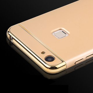 vivo V7 plus Plain Cases ClickAway - Golden with free selfie stick