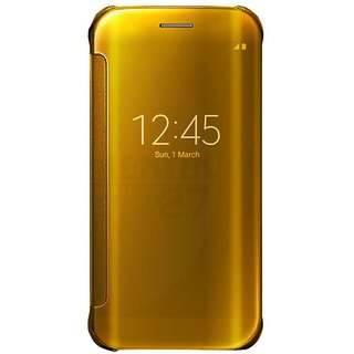 Samsung Galaxy J7 Pro Flip Cover by ClickAway - Golden with free selfie stick