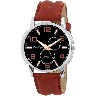 HWT Round Dail Brown Leather StrapMens Quartz Watch For Men