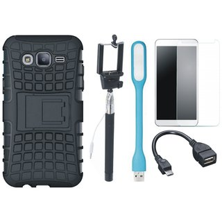 Lenovo K6 Note Shockproof Kick Stand Defender Back Cover with Free Selfie Stick, Tempered Glass, LED Light and OTG Cable