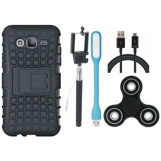 Redmi A1 Dual Protection Defender Back Case with Spinner, Selfie Stick, USB LED Light and USB Cable