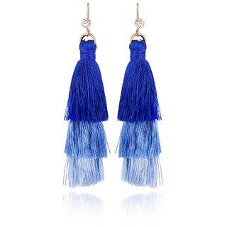 Fab Jewel Fashionable Blue Tassel Earrings for Girls  Women (FJ-282)