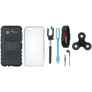 Redmi Y1 Defender Tough Armour Shockproof Cover with Spinner, Silicon Back Cover, Selfie Stick, Digtal Watch, Earphones and USB LED Light