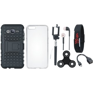 Redmi Y1 Defender Tough Armour Shockproof Cover with Spinner, Silicon Back Cover, Selfie Stick, Digtal Watch, Earphones and OTG Cable