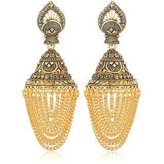 Fab Jewel Fashionable Gold Brass Jhumki Earrings for Girls & Women (FJ-283)