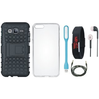 Redmi Y1 Shockproof Tough Armour Defender Case with Silicon Back Cover, Digital Watch, Earphones, USB LED Light and AUX Cable